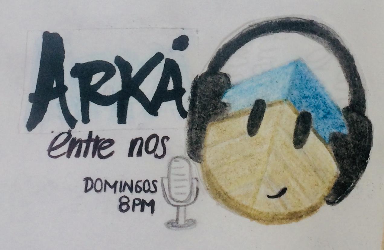 """Foto, una embarcación café y azul, distintiva por ser el logo del Arka, con ojos, boca sonriente y audífonos negros, acompaña un texto que dice """"Arka, entre nos. Domingos a las 8:00 p. m. por Planeta Radio."""